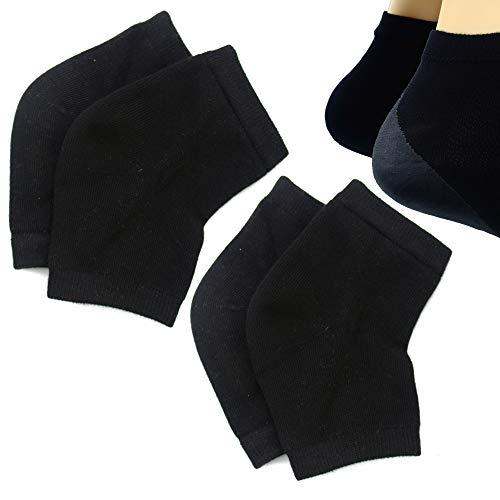 Aokbean 2 Paires Chaussettes à Talons en gel de Silicone hydratantes avec Réseau pour Hydrater la peau Sèche et Craquelée (Noir)