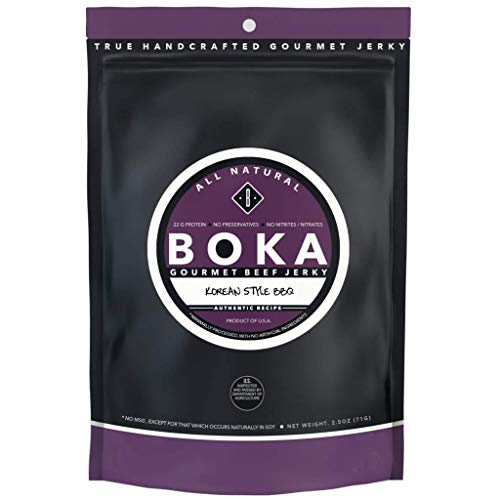 Boka Gourmet All Natural Protein Rich Beef Jerky, NO MSG, Nitrate and Nitrite-Free (Korean Style BBQ)