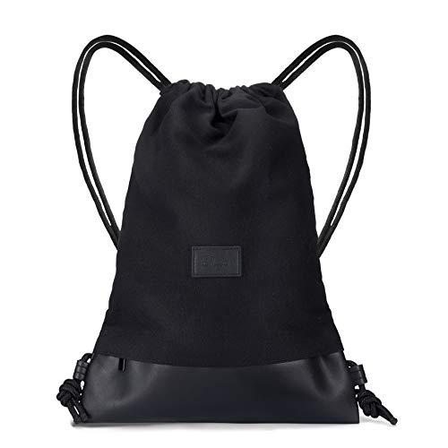 Dreyer Hipster schwarz Turnbeutel – Canvas Baumwoll Beutel mit 3 großen Innentaschen – Sportbeutel/Gymbag für Damen & Herren aus robuster Baumwolle und veganem Leder