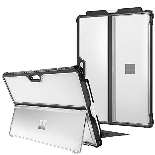 Fintie Hülle für Surface Pro 7/ Pro 6/ Pro 5/ Pro LTE, stoßfeste, robuste Schutzhülle mit Stifthalter & Hartschalen-Abdeckung für den Ständer, kompatibel mit der Type Cover Tastatur, Frost-Optik