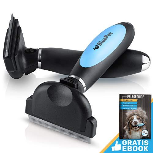 Bluepet UnterwollGlück selbstreinigende deShedding Katzenbürste & Hundebürste | Entfernung der Unterwolle | 60mm (2.0 Blau)