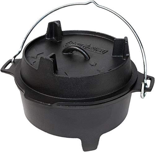 Grillfürst Dutch Oven BBQ Edition DO 4 (ca. 4 Liter) - Gusseisen Feuertopf - Kochtopf - Schmortopf - Gusseisentopf mit Standfüssen