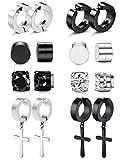 8 Pairs Magnetic Stud Earrings for Men Women Stainless Steel Hoop Cross Non