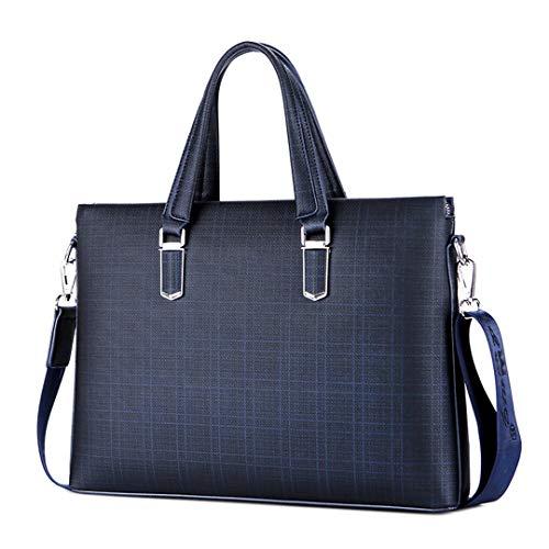 Pan&Bazstny Men's Lattice Briefcases Business Handbag Single Shoulder Bags PU Leather Satchel Bag Blue 37cm-5cm-28cm