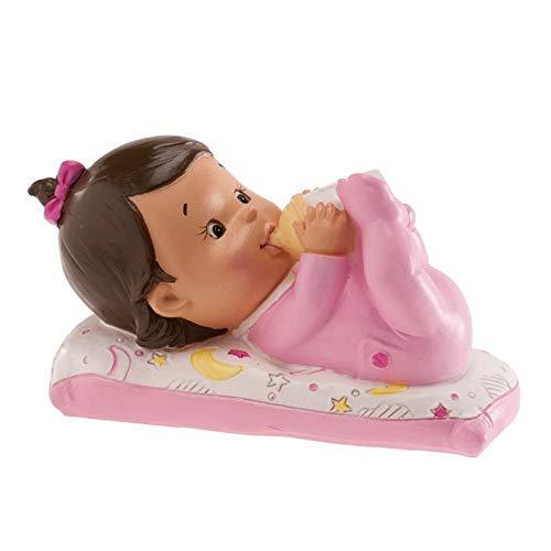Figura en resina para pastel, niña con biberón, para bautismo o nacimiento.