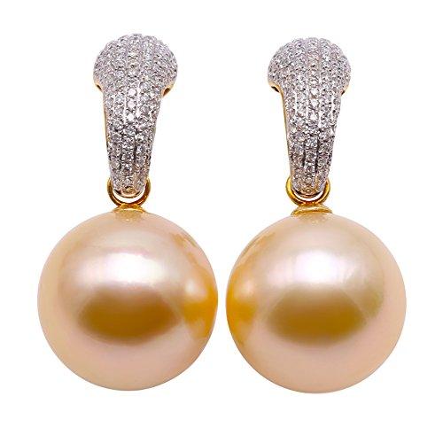 jyx AAA 18K oro 14,5mm mar del sur perla cultivada y diamante pendientes