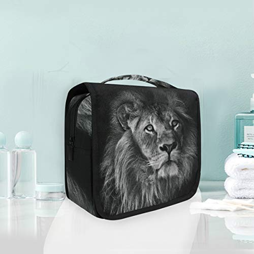 Art De Roi Lion Noir Blanc Trousse De Toilette Sac Pliable Suspendu Cosmétique Sac Rangement Maquillage sacs pour Voyage Femmes Filles