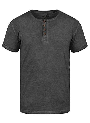 !Solid Tihn Camiseta Básica De Manga Corta T-Shirt para Hombre con Cuello Grandad De 100% algodón, tamaño:M, Color:Black (9000)