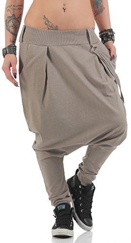 Malito Damen Haremshose mit tiefem Schritt | Jogginghose in Unifarben | Baggy zum Tanzen | Sweatpants - Aladinhose 91086 (Fango)