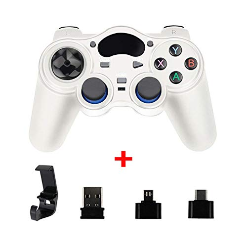 XLNB 2.4g Controller Gamepad Android Joystick Inalámbrico Joypad con Convertidor OTG para Ps3 / Teléfono Inteligente para Tablet Pc Smart TV Box,Blanco