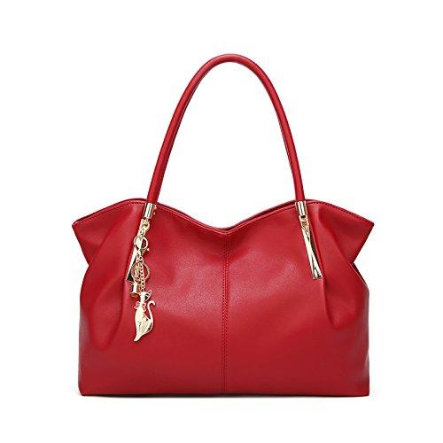 Tisdaini® Damenhandtaschen Mode Schultertaschen Shopper Umhängetaschen Rot