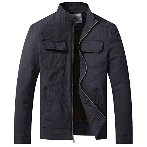 WenVen Men's Cotton Casual Lightweight Military Jacket and Coat Gray, XXL