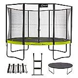 Kangui - Trampoline de Jardin Rond 430 cm + Filet + échelle + bâche + kit d'ancrage | PUNCHI Vert 430