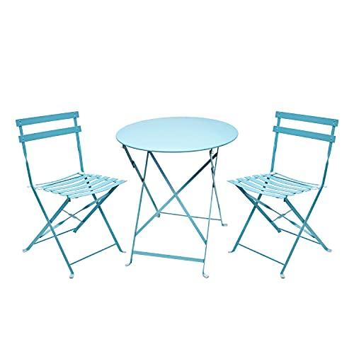 Amagabeli Set da Bistrot 1 Tavolo tavolino(H90 x D60cm) e 2 Sedie (H83 x W42 x D38cm) arredi da Balcone in Pieghevole Giardino Veranda e terrazza Set di Arredamento per Esterni in antiruggine Azzurro