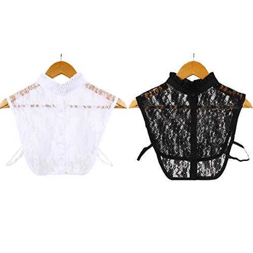 Women's collar removable half shirt blouse lace women's stylish removable half shirt blouse faux collar and fake doll collar - Black - Medium