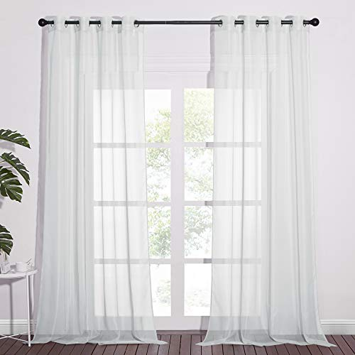 NICETOWN Long Sheer Curtain Panels - Ring Top Modern Window Treatment Voile Drapes for Bedroom / Living Room (Light Gray, One Pair, W54 x L96)
