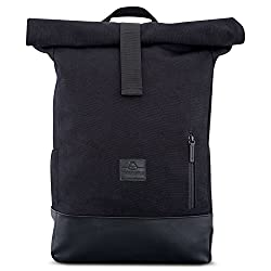 Rolltop backpack women & men black - JOHNNY URBAN roll top backpack made of cotton canvas & imitation leather - casual backpacks for everyday life, university, travel & school - water-repellent & very flexible