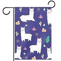 ホームガーデンフラッグ両面春夏庭屋外装飾 12x18in,アルパカ