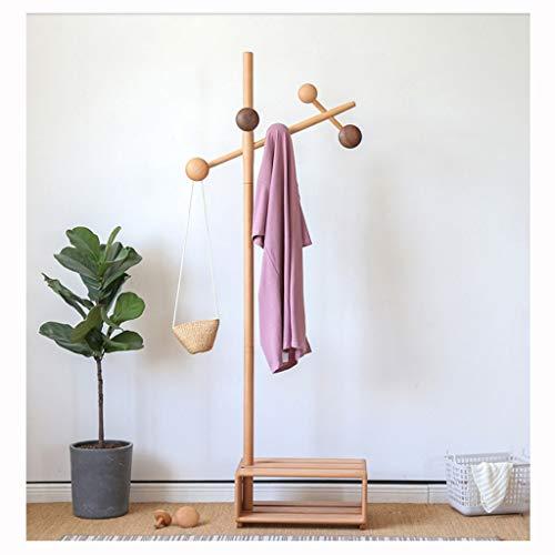 QIFFIY Perchero de madera, 3 en 1, soporte de banco de zapatos, estante de almacenamiento, soporte de pie para abrigos, para abrigos, sombreros y perchero de madera (color B)