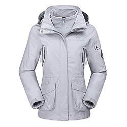 CAMEL CROWN Damen Ski 3-in-1-Jacke 2 Stück Set Outdoor Wasserdicht Winddicht Fleece Innen Kapuzenmantel