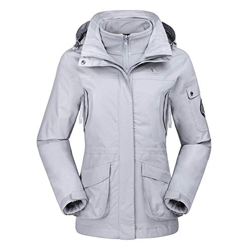 CAMEL CROWN Damen Ski 3-in-1-Jacke 2 Stück Set Outdoor Wasserdicht Winddicht Fleece Innen Kapuzenmantel