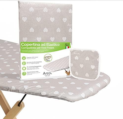 ARCOL Copertina Ricambio ad Elastico Compatibile per ASSE da Stiro Foppapedretti, Made in Italy, Copriasse da Stiro 100% Cotone con Presina in Omaggio (Copertina, Beige)