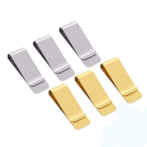 6 delar sedelklämma i stål, smalt metallsedelklämma, för kontanter, fakturor, kreditkort, visitkort, dokument, foton, anteckningsböcker, etc, lätt att bära