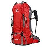 Mochila para hombres, mochila de senderismo de 55 litros, impermeable, para deporte, camping, para viajes, senderismo, con funda para lluvia, color rojo, tamaño talla