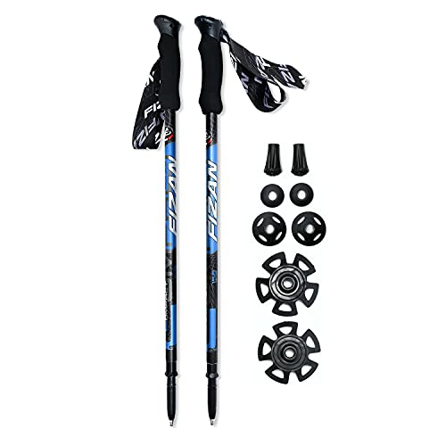 DROP + Fizan Compact Trekking Poles – Ultralight, Backpacking, Thru Hiking Poles, Adjustable, Collapsible, Customized Fit, EVA Grips, Blue (158 Grams Each)
