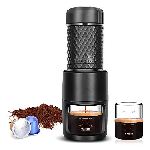 STARESSO Portable Espresso Machine - Manual Espresso with Rich & Thick Crema, Mini Coffee Maker Using Ground Coffee & Nespresso Pods, Handy Espresso Maker for Travel Camping Office Home Use