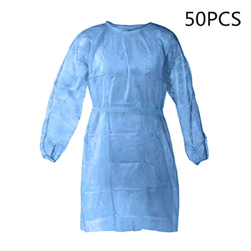 Disposable Protective Clothing, Medical Isolation Gowns, Blue Protective Coverall - Elastic Cuffs with Waist and Neck Tie Closures - Non-Sterile Examination Gowns for Women Men (Blue,50PCS)