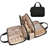 Travel Toiletry Bag, Bagsmart Large Makeup Cosmetic Bag Water-resistant Travel Organizer for Full Sized Toiletries, Makeup Brushes, Accessories