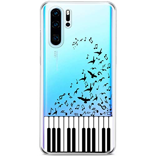 Mertak Clear Phone Case for Huawei P30 Pro P20 Plus P10 Lite P9 Mate 20X Piano Silicone TPU Music Gift Lightweight Notes Design Cover Protective Cute Slim Flexible Print Birds Song