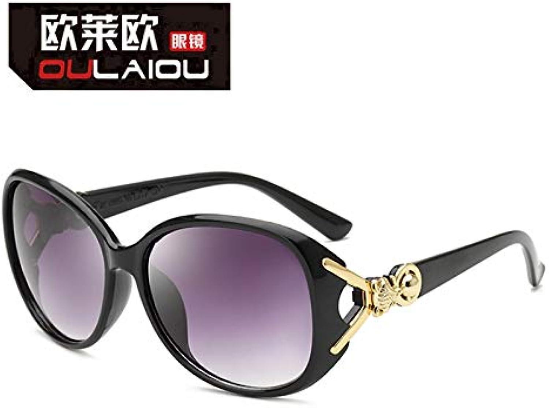 RYRYBH New Elliptical Sunglasses Ladies Elegant AntiUV Sunglasses Hollow Sunglasses Sunglasses (Size   Progressive Tea)