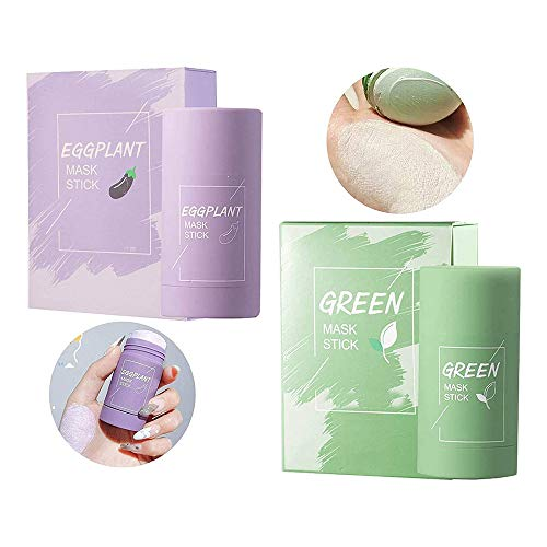 Raining 2PCS Green Tea/Eggplant Purifying Clay Stick Mask,Face Moisturizes Oil Control,Deep Clean Pore,Improves Skin,Cleansing Mask for All Skin Types Men Women (Green Tea+Eggplant)