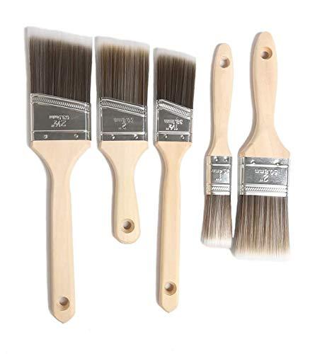 Flachpinsel Set 25 38 50 50 63 mm mit Holzgriff, Malerpinsel Set Profi Pinselset Lackierpinsel Premium Lasurpinsel zum Ölmalerei und Malerei (5 Stücke)