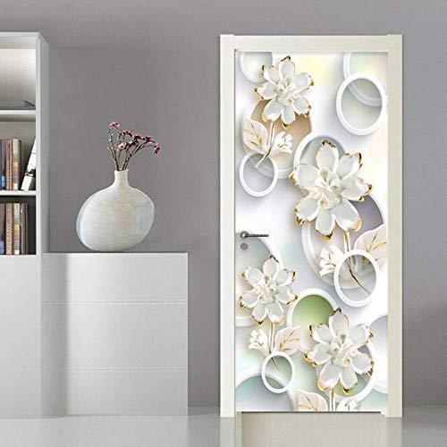 Deurstickers wit bloemenpatroon behang deurbehang zelfklevend deurposter closeup in het formaat deurfolie plakfolie van trendmuren 77 cm x 200 cm