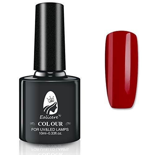 Ealicere Gel Colorato Smalto Gel per Unghie in Gel Asciugatura UV LED Unghie Soak off UV Gel per Manicure Lunga Durata e Facile Applicazione(Rosso)
