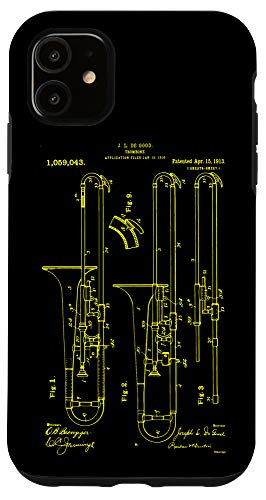 iPhone 11 Trombone Player Vintage Print 1913 funny Musician Case