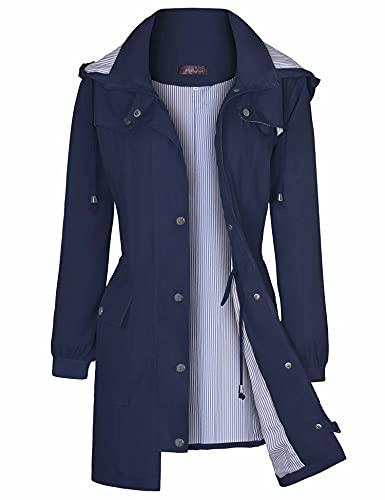 Bloggerlove Chubasquero para mujer, impermeable, ligero, para exteriores, con capucha, tallas S-XXL, Azul marino, L
