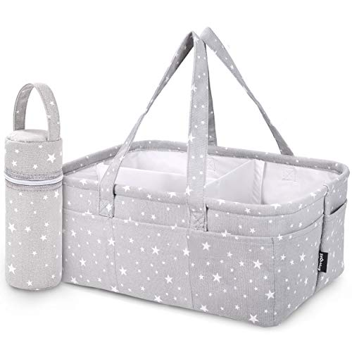 StarHug Baby Diaper Caddy Organizer - Baby Shower Basket | Large Nursery Storage Bin for Changing Table | Car Travel Tote Bag | Newborn Registry Must Have | Bonus Bottle Cooler | Gray