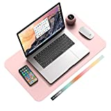 Non-Slip Desk Pad, Waterproof PVC Leather Desk Table Protector, Ultra Thin Large Mouse Pad, Easy Clean Laptop Desk Writing Mat for Office Work/Home/Decor(Pink, 23.6' x 13.7')