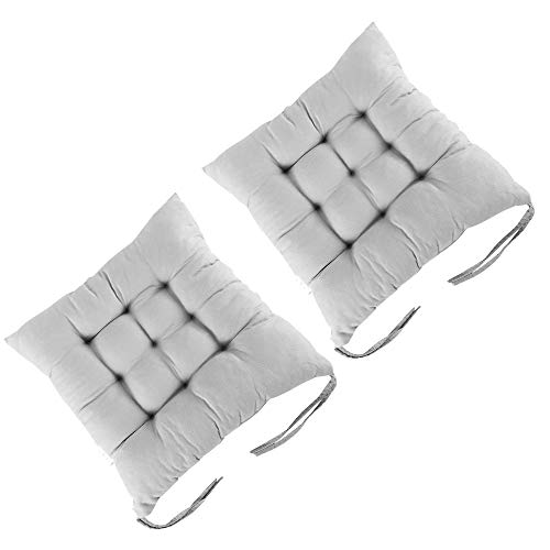 Dandelionsky 2 Pack Seat Pads Chair Cushion for Dining Chair Portable Thicken Cotton Non-Slip Grey Seat Pad Cushion with Ties for Outdoor Garden,Office,Living Room 38 x 38 cm