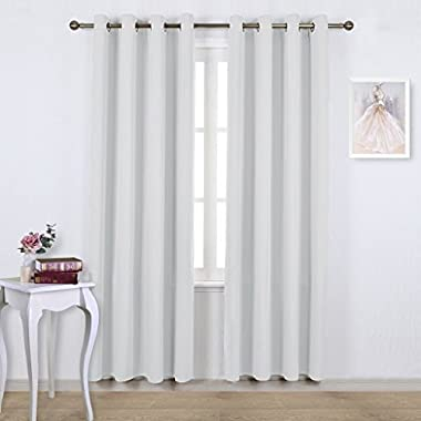 NICETOWN Room Darkening Curtains for Living room - Easy Care Solid Thermal Insulated Grommet Room Darkening Curtains/Panels/Drapes For Bedroom (2 Panels, 52 by 84, Greyish White)