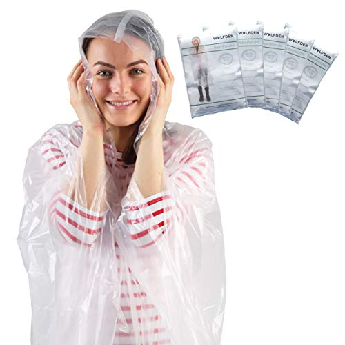 Wolf Den Einweg Regenponcho 5 Stück - Regenponchos für Erwachsene - Einmal Regen Poncho