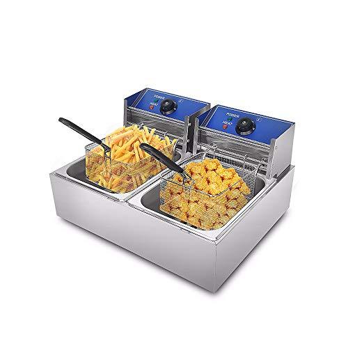 TTHH Freidora Eléctrica, Cesta Doble de Acero Inoxidable de 16 L, Control Inteligente de Temperatura, Patatas Fritas Comerciales, Snacks Gourmet