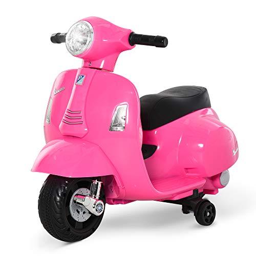 HOMCOM Moto Eléctrica Vespa para Niños +18 Meses con Faro Bocina y 4 Ruedas Motocicleta Infantil con Licencia 66,5x38x52 cm Rosa