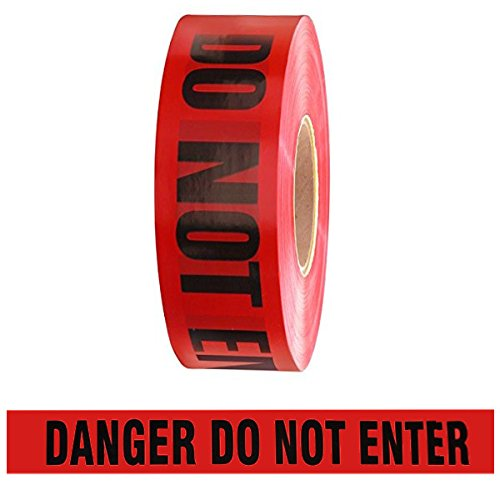 Barricade Tape - Danger Do Not Enter - Red 3' x 1000 ft Non Adhesive 2 mil (8 Roll/Case)