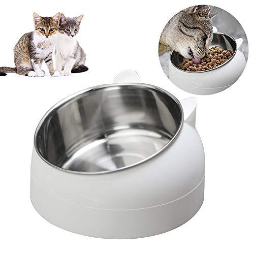 TaimeiMao katzennapf Set,Futternäpfe Katzenfutter, Katzennäpf Edelstahl rutschfest,FutternapfKatze,Futterschüssel Katze,Hundenapf Schräg,katzenschüssel Set für Katze Welpe Futter und Wass (Weiß)