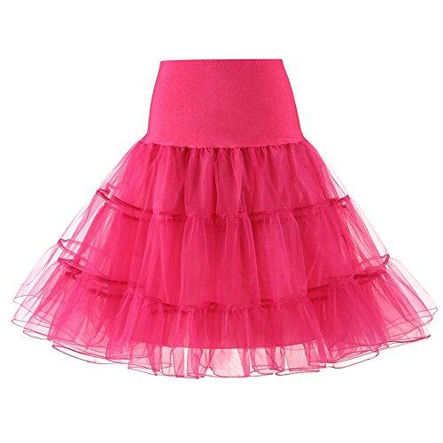 Petticoat Vintage 50er Jahre Stil Tüll Rockabilly Petticoat Tutu Mariee Hochzeit Ball Großer Plüsch Laub Rock Ballett Abend Cocktail Sexy Kleid Retro Vintage Swing Kleid Gr. Large, Hot Pink